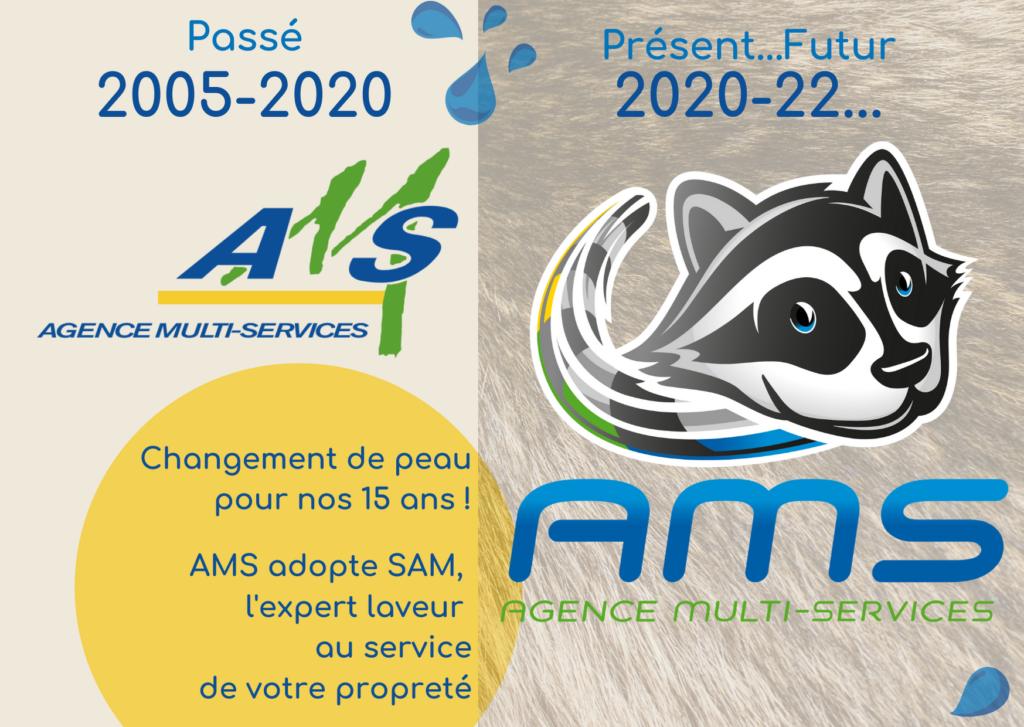 Montre l'ancien et le nouveau logo d'AMS.